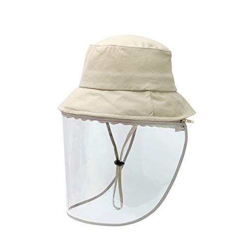 LTLWL Cappello da Sole per Il Viso Rimovibile Visiera Staccabile Paralume Antipolvere per Saliva Antipolvere per Esterni A Pieno Facciale, Nero Unisex,Cachi