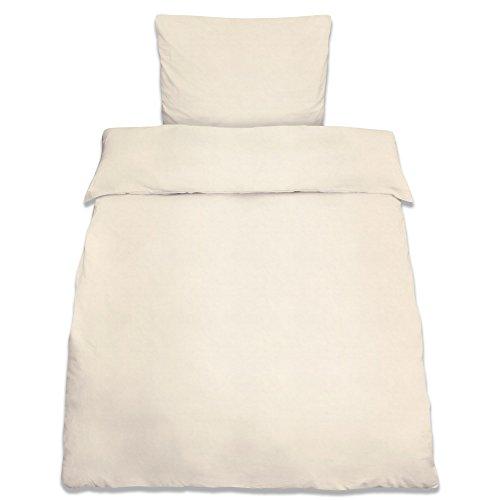 Beautissu Bettwäsche Renforcé Julie 2 TLG. Set Bettbezug 135x200 cm + Kopfkissenbezug 80x80 cm Baumwolle Ecru Oeko-Tex