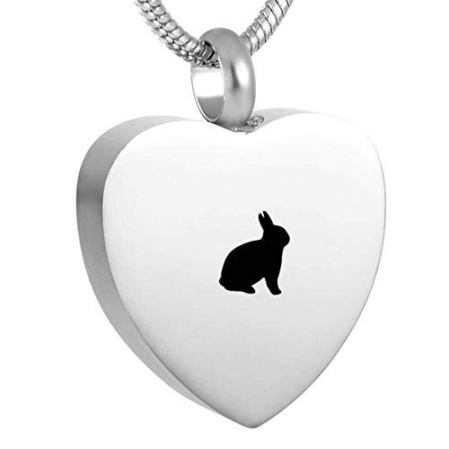 Collar de Moda para Mujer Collar de Regalo de niña Colgante de entierro del corazón del láser de Conejo Encantador para Mantener Menos Cenizas Memory Coffin Caja pequeña de Acero Inoxidable Izar