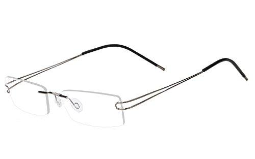 Agstum Pure Titanium Rimless Flexible Frame Optical Hingeless Eyeglasses (Gray, 52mm)