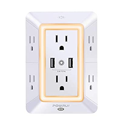 USB Wall Charger, Surge Protector, POWRUI 6-Outlet Extender with 2 USB Charging Ports (2.4A Total) and Night Light, 3-Sided Power Strip with Adapter Spaced Outlets - White?ETL Listed