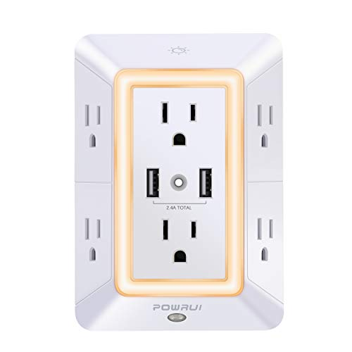 USB Wall Charger, Surge Protector, POWRUI 6-Outlet Extender with 2 USB Charging Ports (2.4A...
