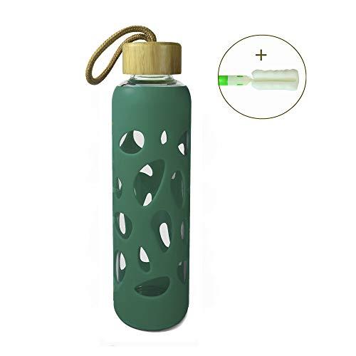 Wenburg Cantimplora Botella de Cristal con Tapa de bambú 550 ml, Cubierta de Silicona. Botella Deportiva/Botella de Agua de Vidrio. para Llevar. para té, Agua, Batidos (Turquesa Oscuro, 0,55 l)