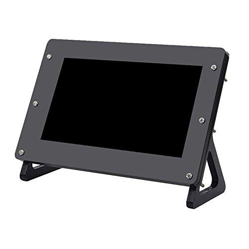 Richer-R LCD Touchscreen Gehäuse, 7 Zoll Acryl Schutzhülle Touchscreen Display Gehäuse Shell,LCD Touchscreen Hülle Protector Case mit Ständer für Raspberry Pi 7 Zoll Bildschirm Schwarz