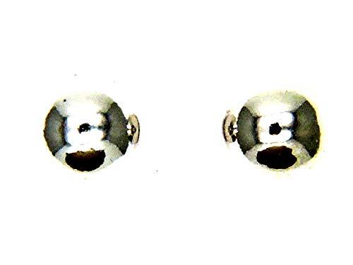 PEGASO GIOIELLI - PENDIENTES ORO BLANCO 18 CT BOLA LUCIDA - ESFERA A LOBO - TAPPAFORI - MM 3