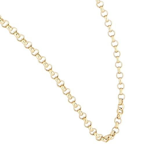 Jollys Jewellers Collar Belcher de oro amarillo de 9 quilates para mujer, cadena de 43 cm (2 mm de ancho)