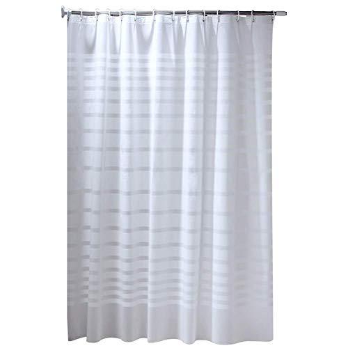 Duschvorhang, weiß gestreift, wasserdicht, schimmelresistent, dicker Badezimmer-Vorhang, groß, schimmelresistent