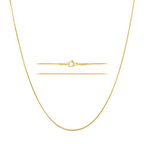 KISPER Collar de cadena de serpiente fina de acero inoxidable de 24 quilates, 0,9 mm, 35,5 a 76,2 cm