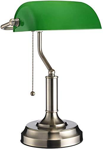 Lámpara de banquero tradicional, acabado de latón, pantalla de vidrio verde esmeralda, luz de mesa de oficina vintage, lámparas de escritorio de estilo antiguo para oficina, sala de estudio