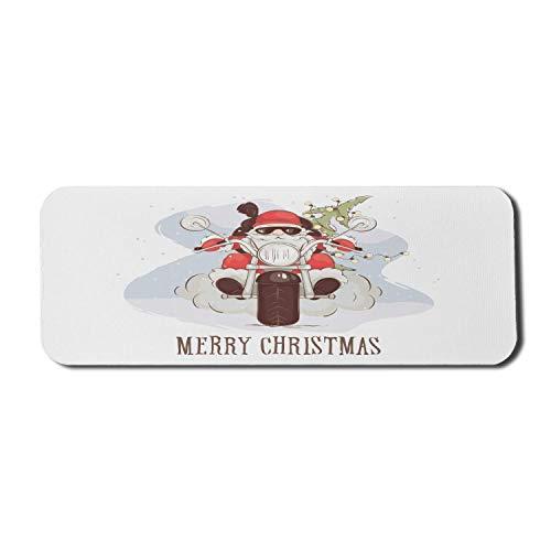 Frohe Weihnachten Computer Mouse Pad, Cooler Weihnachtsmann mit Sonnenbrille auf einem Chopper Bike mit Weihnachtsbaum und Sack, Rechteck rutschfestes Gummi-Mauspad Groß Mehrfarbig