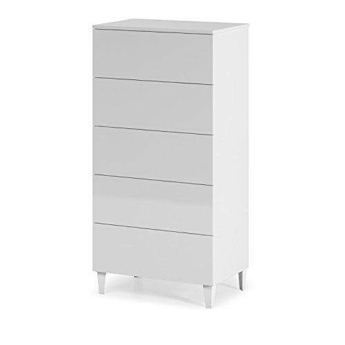 Habitdesign 007835BO - Cómoda chifonier nórdico, Acabado Blanco Brillo, Medidas: 117x61x40 cm de Fondo