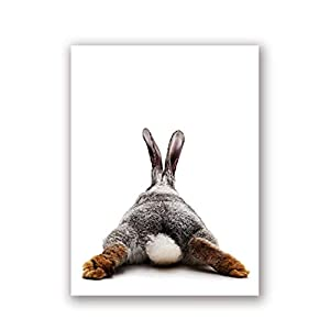 XIANGPEIFBH Bunny Butt Nursery Wall Art Canvas Painting Posters Animal Rabbit Prints Funny Rabbit Tail Wall Pictures Baby Room Decor-50x70cm with Frame