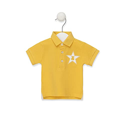 TOUS BABY - Polo a maniche corte per bambino, dettaglio di stella e orso sul petto. Colori: giallo, corallo, Celeste e Bruma (taglie: 1 mese a 4 anni). giallo 3-6 Mesi
