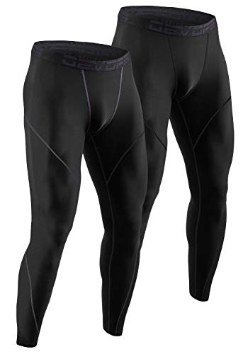 SILKWORLD Mens Thermal Compression Pants 1~2 Pack/Athletic Leggings with Pockets