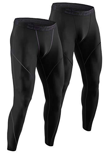 DEVOPS Men's Thermal Compression Pants, Athletic Leggings Base Layer Bottoms (2 Pack) (Medium, Black/Black)