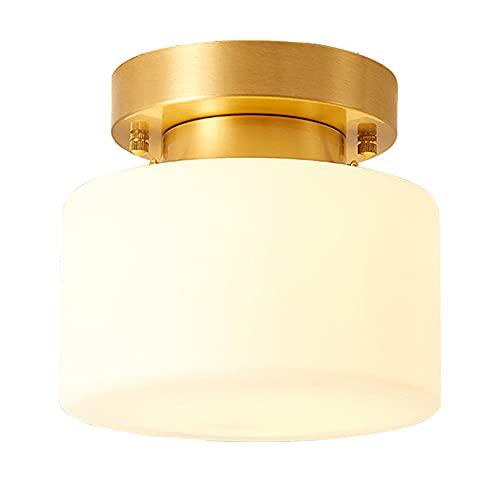 HJWSL Luz de techo redonda LED 12W luz de techo de vidrio de cobre iluminación tricolor dormitorio balcón pasillo entrada guardarropa iluminación/Blanco