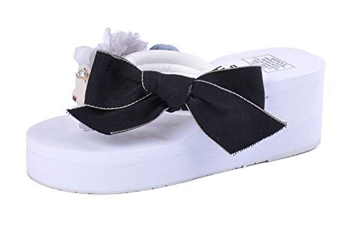 Señoras Lace Up Little Bey Bow Skege Slippers Open Toe Trovible Zapatos Casuales Cómodo Plataforma Sandalias Playa Playa Viajes Zapatillas de Viaje Outdoor Non-Slip Flower Decoración,Blanco,38