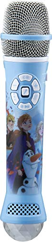 eKids Disney Frozen 2 Bluetooth Karaoke Microphone with LED Disco Party Lights, Portable Bluetooth Speaker Compatible with Siri Google Assistant