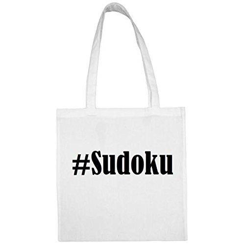 Tasche #Sudoku Größe 38x42 Farbe Weiss Druck Schwarz