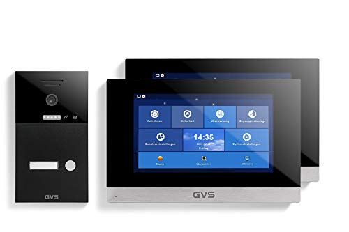 GVS AVS1256A - Videoportero de 4 cables/IP, IP65, 2 monitores de 10 pulgadas, App, cámara HD de 120 °, función de apertura de puerta, 32 GB de memoria, conmutador PoE, 1 juego de casa familiar