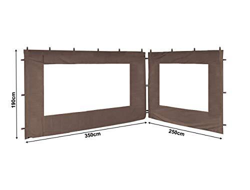 QUICK STAR 2 Seitenteile für Pavillon Nizza 3x4m Seitenwand Taupe