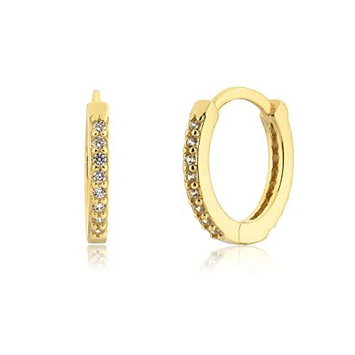 Pendientes Mujer Plata De Ley 925 9 3 Mm Huggies Piercing Pendientes Aros Pendiente Rock Punk Loops Ronda Arco Iris Jewelry Gold 3