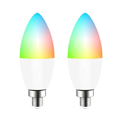 Lampadina Intelligente, ENKLEN Wifi Smart Lampadine E14 4,5W LED RGB dimmerabile 16 milioni di colori Nessun hub richiesto Controllo Vocale Funzione Timer con Alexa, Google Home, IFTTT, 2 Pack