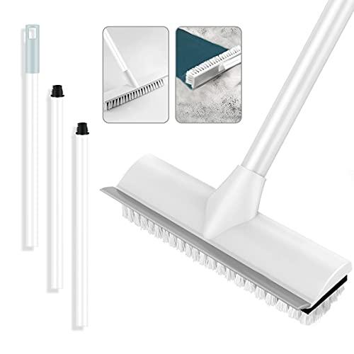 Cepillo de limpieza de suelo 2 en 1 con mango largo ajustable y cepillo para la limpieza de la pared del baño, el patio o la cocina ⭐