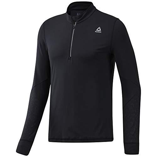 Reebok Męska bluza termiczna Osr z zamkiem błyskawicznym 1/4, czarna, XL