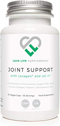 Joint Support with Levagen (Palmitoylethanolamide) and UC-II Chicken Collagen by Love Life Supplements | 30 Capsules - 30 Servings | Also Includes Glucosamine, Vitamin C and Hyaluronic Acid