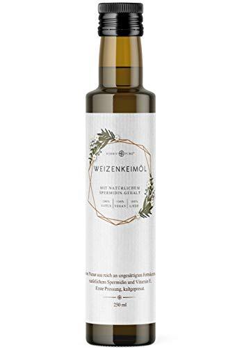 Weizenkeimöl von Nordic Pure | Kaltgepresst mit Spermidin und viel Vitamin E | Weizenkeime mechanisch gepresst (250 ml)