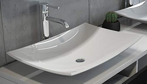 SAM Schalenwaschbecken Davos, 60 cm, weiß, geschwungenes Aufsatzbecken, Waschbecken aus Keramik, ohne Unterschrank