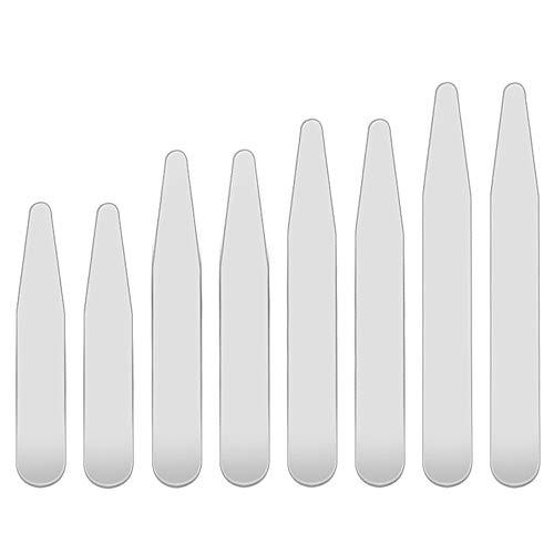YUSHIWA 8 PCS Ballenas de Cuello de Camisa Resistente Stays Collar de Acero Inoxidable para Navidad, Regalos de Cumpleaños, Día del Padre, Bodas, Aniversarios (4 Tamaños, Plateado)