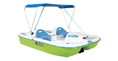 Pelican Sport - PEDAL BOAT MONACO DLX ANGLER - Adjustable 5 Seat Pedal Boat with Canopy, Green/White