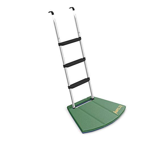 Ampel 24 Trampolin Leiter 110 cm lang mit zweifarbiger Fußmatte, Treppe Silber mit 3 Breiten Stufen, praktischer Einstieg für große Gartentrampoline