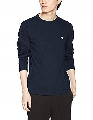[チャンピオン] ロングTシャツ 長袖Tシャツ 綿100% 定番 ワンポイントロゴ刺繍 ロングスリーブTシャツ C3-P401 メンズ ネイビー L