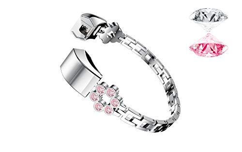 Beidifa - Cinturino di ricambio per Fitbit Alta HR, in acciaio inox, con fiore e diamante, accessorio sportivo da polso con connettori per Fitbit Alta/Alta HR