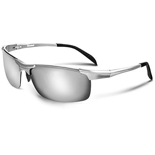 Oramics Unisex Sportbrille Polarisierte Sonnenbrille inklusive bruchfestes Brillenetui Fahrerbrille für Frauen und Männer Skibrille Fahrradbrille für Damen und Herren (Silber)