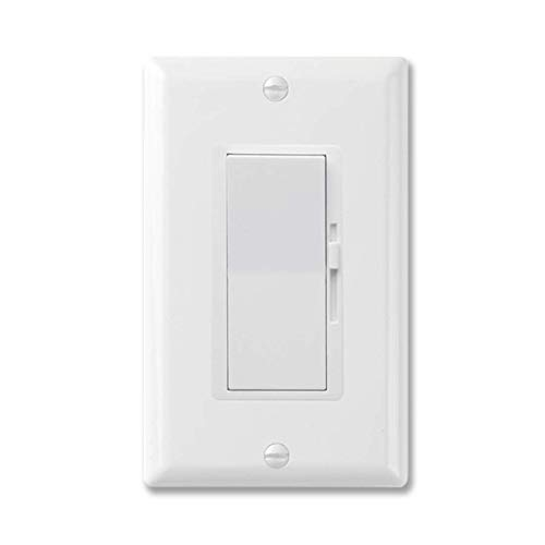Bolrant Single-Pole or 3-Way,Dimmer Switch for Dimmable LED,compatiable with CFL(C.L) led, Wall dimmer Switch, Halogen and Incandescent Bulbs 600W Max,120V AC, White,with wallplate
