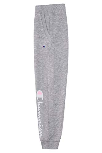Champion Girls Heritage Fleece Jogger Sweatpant Big and Little Girls (Oxford Heather Script, Large)
