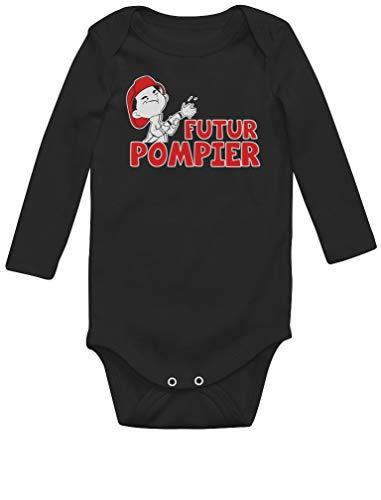 Green Turtle T-Shirts Futur Pompier - Cadeau Naissance pour Enfant de Pompier Body Bébé Manche Longue 6M Noir