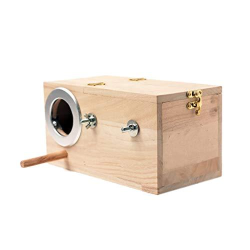 Nid d'oiseau en Bois Massif pour Perroquet Petit Animal Cage Oiseaux nichoirs boîte à Oiseaux (Taille : Large)
