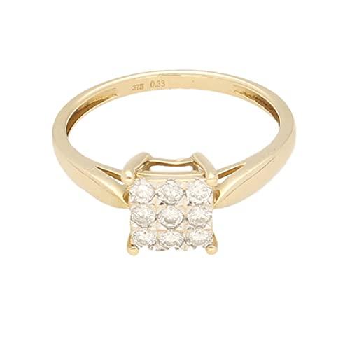 Anillo de oro amarillo de 9 quilates para mujer con diamante de 0,33 quilates (tamaño R 1/2) cabeza de 7 x 7 mm, anillo de lujo para mujer