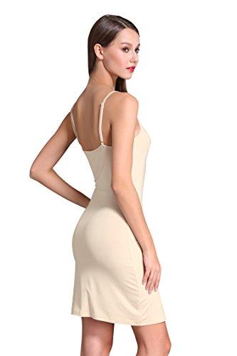 Coreal Damen Unterkleid Slim Nachthemd Verstellbare Träger nachtwäsche Hautfarbe X-Large