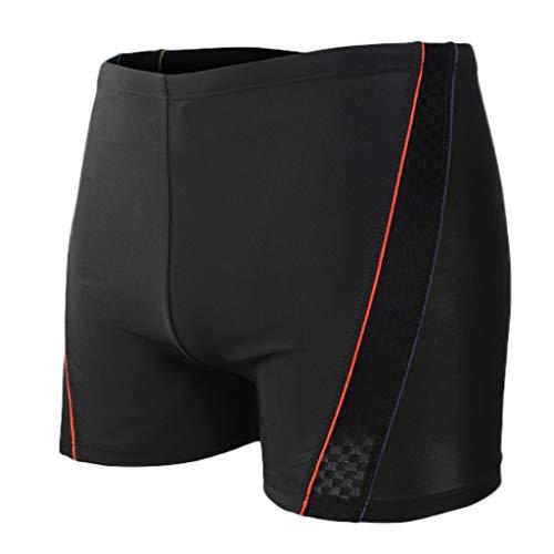 Aotifu Mens'Athletic Swim Trunks Boxer Brief Jammers Quick Dry Compression Square Leg Swim Brief Swimsuit Shorts (01Red,XXL)