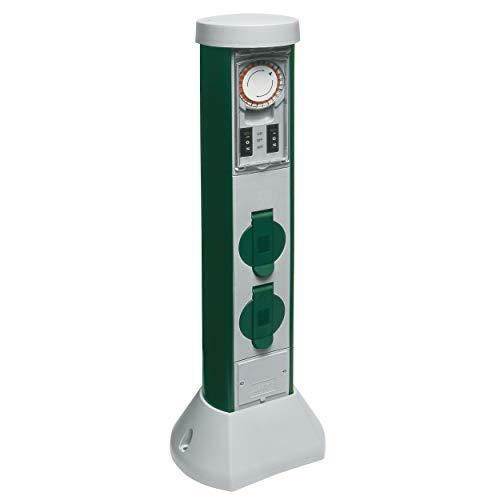 REV 0068206261 GreenCraft, Garten Steckdosen, H52cm, Kabel 10m, Zeitschaltuhr, grün
