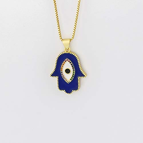 New Fashion Gold Turkey Blue Eye Hamsa Hand Fatima Palm Necklac For Women Copper Jewelry Good Luck Chain Necklace