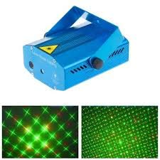 RSC Mini Laser Projector Stage Lighting Sound Activated Laser Light for Party and DJ black/blue