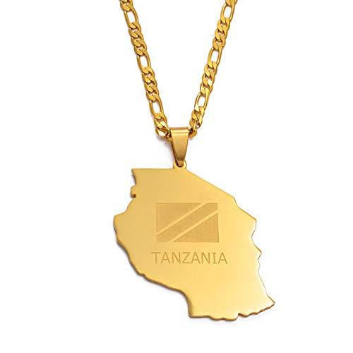 DSHT Tanzania Ladies Men Gold Pendant Map Collana con Ciondolo Africa Tanzania Collana con Catena A Catena