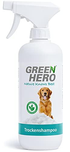 Green Hero Champú seco para perros en espray 500 ml natural para limpieza – Elimina la suciedad de secado rápido – Perfecto para una limpieza rápida